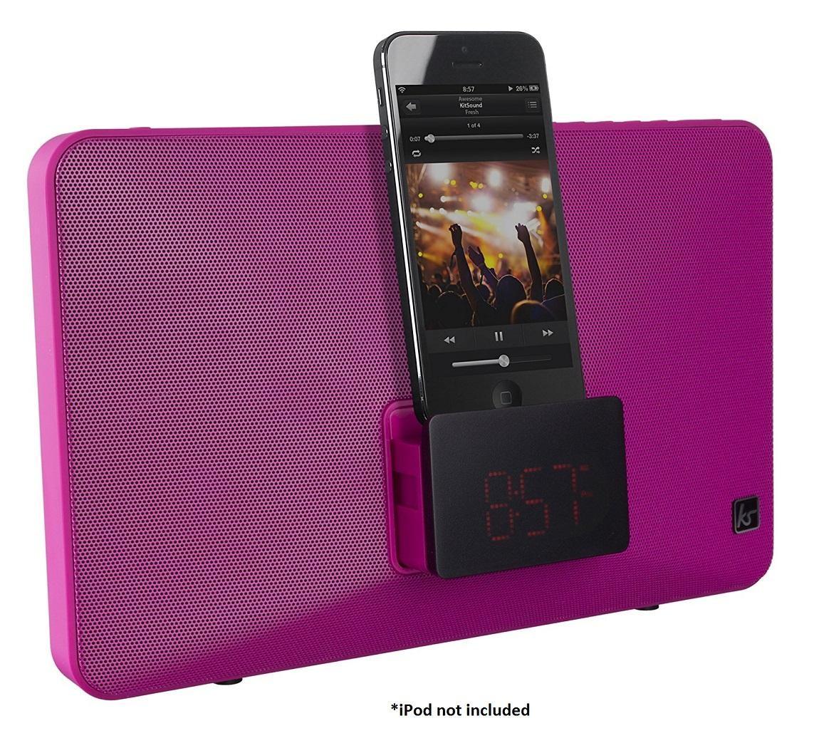 kitsound fresh alarm clock radio dock station lightning connector pink c grade electrical deals. Black Bedroom Furniture Sets. Home Design Ideas