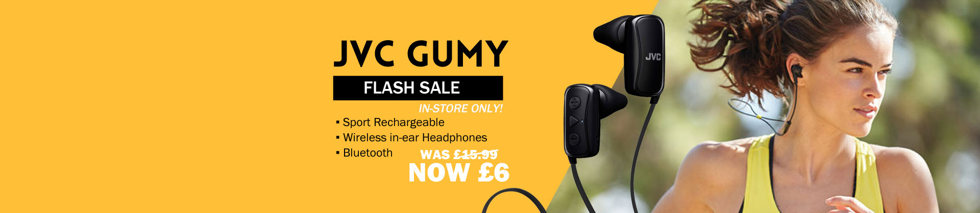 JVC Gumy Sport Rechargeable wireless in-ear Headphones now only £6